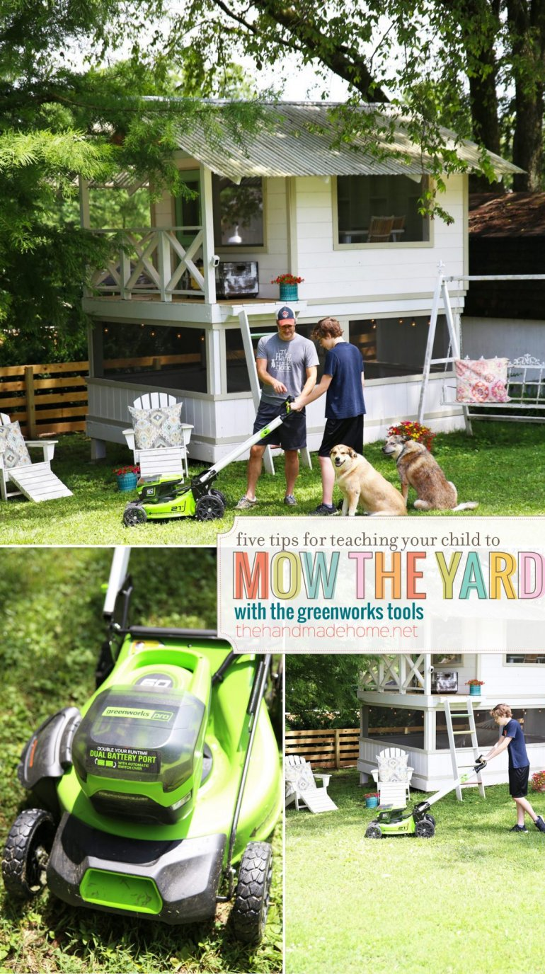 tips for teaching your child to mow the yard