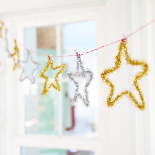 tinsel star garland