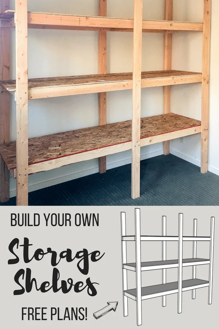 how to build storage shelves for less