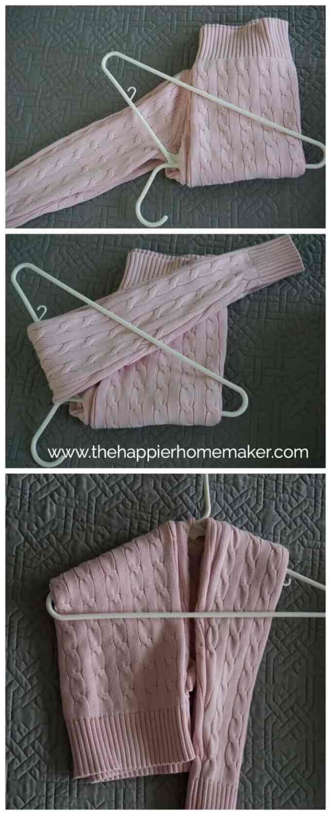 How to Hang a Sweater without stretching out the shoulders via The Happier Homemaker - I love this tip-I like to keep my sweater hanging so my closet is more organized and I can see my options when picking out clothes! - Closet Organization Ideas and Space Saving Hacks