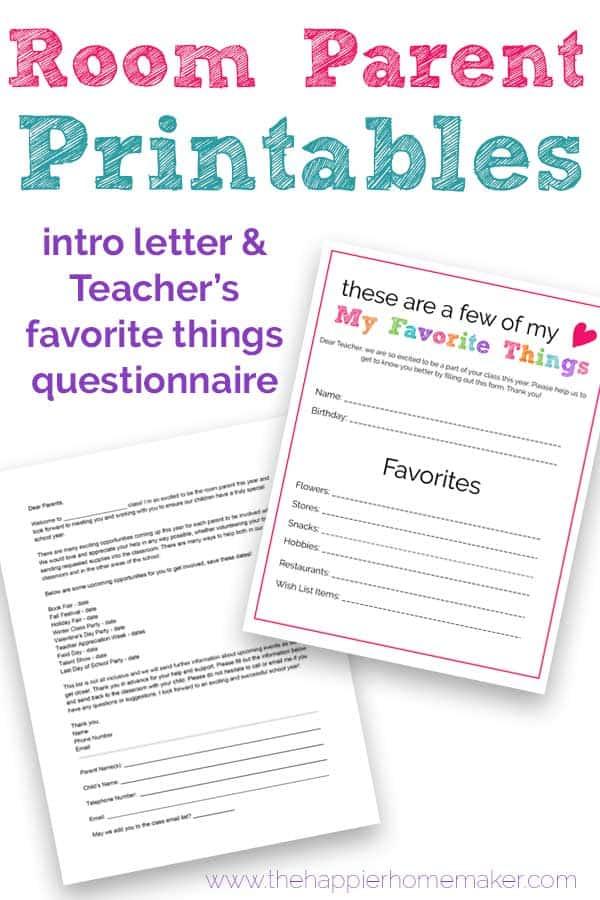 Room Parent Printables Room Mom Intro Letter Amp Teacher