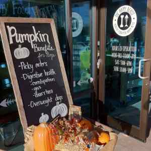 Sign showing the benefits of pumpkin in dog diets