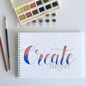Create everyday quote: pink and blue watercolours