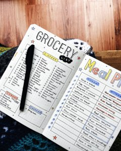 Grocery list and meal planning spread