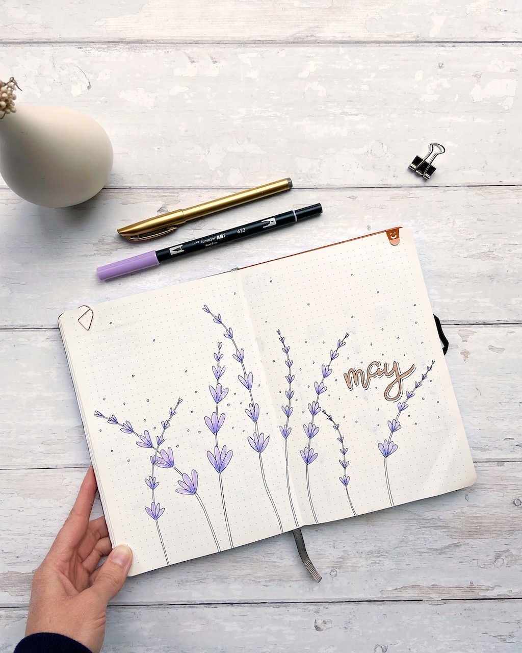 Lavender themed monthly spread