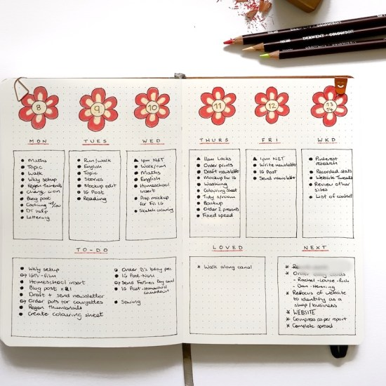 Bullet Journal Weekly Layout