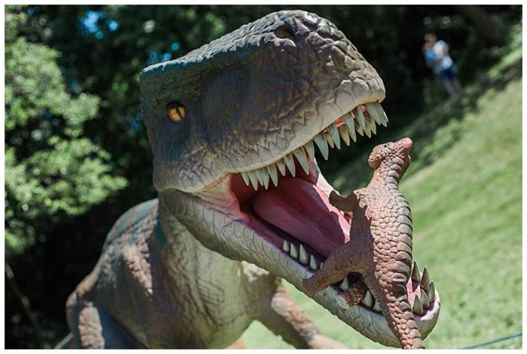 raptor eating a small dinosaur at jurassic kingdom