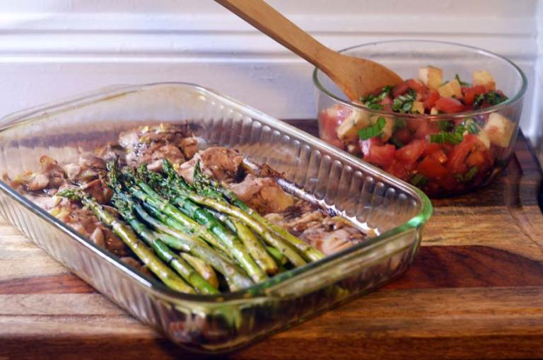 Balsamic chicken bake with asparagus and tomato basil mozzarella salad. Gluten-free, grain-free