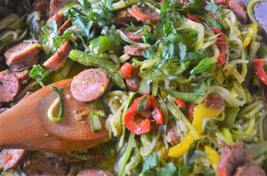 pesto zucchini italian sausage gluten free grain free low carb