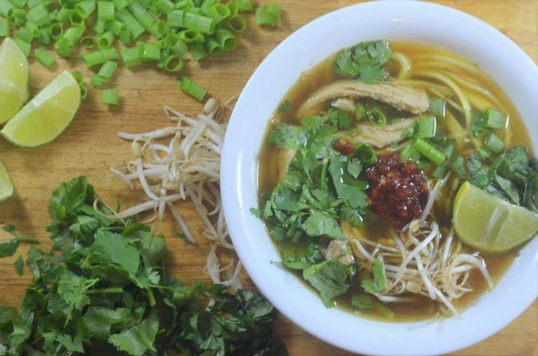 Low-carb pho with zucchini noodles, made with homemade bone broth. Super simple and delicious! Ketogenic, low-carb, Paleo, gluten-free, grain-free, dairy-free, Whole30 compliant.