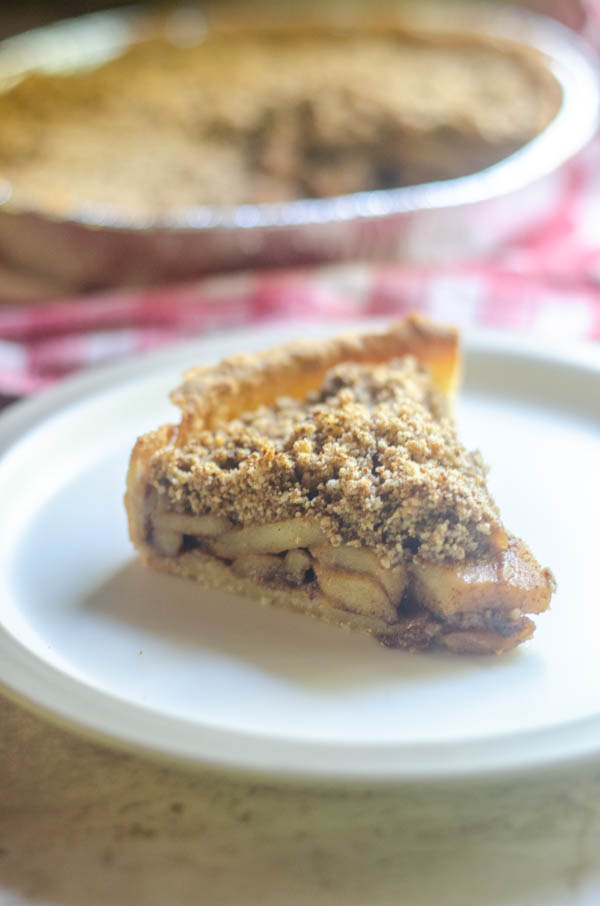 This low-sugar apple pie is completely gluten-free, grain-free and made with less sugar than the typical pie recipe would. Great for those trying to cut back on their refined-sugar consumption.