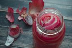 These quick-pickled red onions will add some zing to your typical bland recipes. No heating or fermenting required. Gluten-free, grain-free, dairy-free, ketogenic, low-carb, Paleo, vegan, vegetarian.