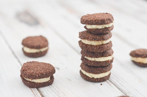 Delicious four-ingredient gluten-free Oreos made with chocolate shortbread cookies and a sweet buttercream filling. Surprisingly simple and quick to make! Keto, low-carb, gluten-free, grain-free, bulletproof.