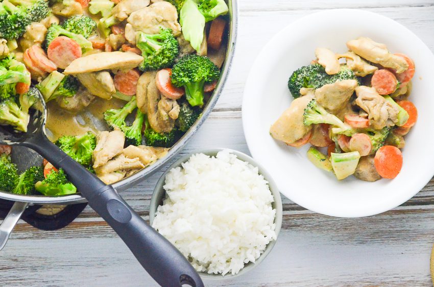 Sweet Thai almond butter chicken and vegetables, made with a creamy coconut milk and almond butter sauce. A quick meal for a busy night. Gluten-free, grain-free, peanut-free, ketogenic, Paleo, low-carb.