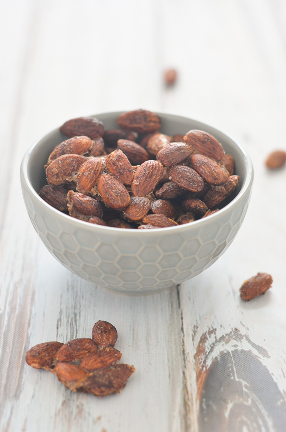 These low-carb cinnamon sugar almonds are incredibly easy and delicious. Ketogenic, sugar-free, dairy-free, gluten-free, grain-free.