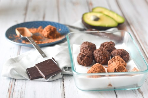 Super-dark chocolate chocolate avocado truffles rolled in flavorful cocoa powder. Decadent and rich, and incredibly easy to make! Gluten-free, grain-free, ketogenic, low-carb, vegan, vegetarian and dairy-free.