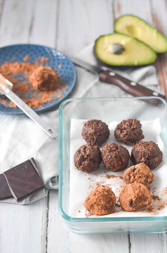 Super-dark chocolate avocado truffles rolled in flavorful cocoa powder. Decadent and rich, and incredibly easy to make! Gluten-free, grain-free, ketogenic, low-carb, vegan, vegetarian and dairy-free.