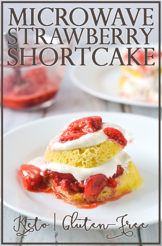 A super quick and easy microwave strawberry shortcake, where the cake is made in a mug, the strawberry filling is microwaved and mashed to form a gooey and sweet layer, and the whipped cream is made fresh with a bit of added sweetness. Takes under 10 minutes, start to finish. Gluten-free, grain-free, ketogenic, low-carb with a dairy-free option.