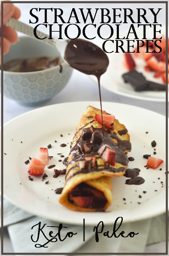 These strawberry chocolate keto crepes are a delectable dessert indulgence. They are made with coconut flour, psyllium husk powder, eggs, sweetener and water, then sprinkled with fresh strawberries and drizzled with melted chocolate. Low-carb, ketogenic, gluten-free, grain-free, dairy-free, sugar-free, Paleo.