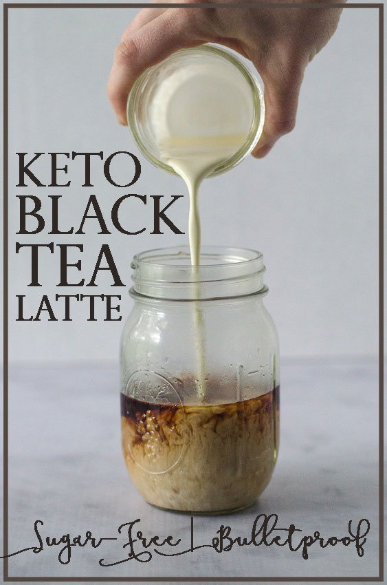 A simple keto black tea latte recipe, which can either be made into a bulletproof-style drink by adding butter and MCT oil, or you can simply add sweetener and coconut milk or heavy whipping cream for a creamy and rich drink.