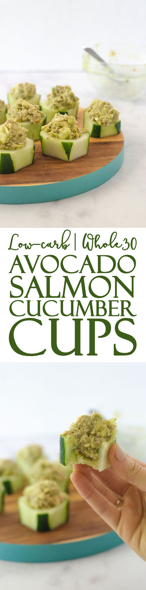 These avocado salmon cucumber cups are a super simple and quick appetizer, perfect for a party snack or a 5 minute lunch! Gluten-free, grain-free, low-carb, ketogenic, dairy-free, Whole30, Paleo.
