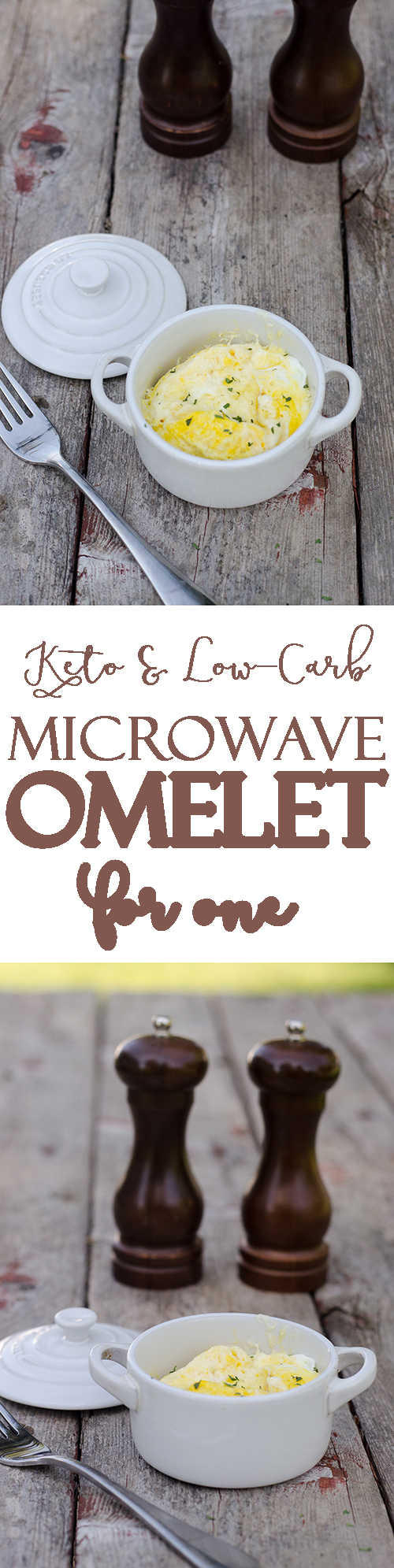 Want a quick and easy microwave omelet for one? Then you've found the perfect recipe! Simply mix two eggs, some cream and a handful of shredded cheese in a single container, pop in the microwave and wait two minutes. That's all there is to it! Gluten-free, grain-free, primal, ketogenic, low-carb.