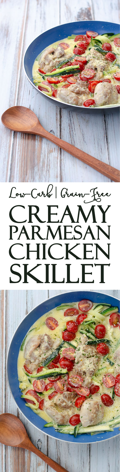 An easy 20 minute skillet recipe, this creamy Parmesan chicken skillet is loaded with healthy fats, veggies and protein-packed chicken. Low-carb, ketogenic, gluten-free, grain-free.