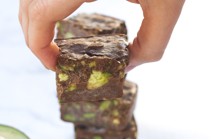 A decadent and dark chocolate fudge speckled with chunks of creamy avocado. Easy to make and lots of fun for the entire family! Gluten-free, grain-free, low-carb, sugar-free, dairy-free, ketogenic, Paleo.