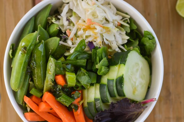 A delicious fresh thai-inspired salad with a chili lime vinaigrette. Made with tons of fresh vegetables, this salad makes a fantastic appetizer or side dish to a fancy meal. Gluten-free, grain-free, dairy-free, vegan, low-carb and Paleo.