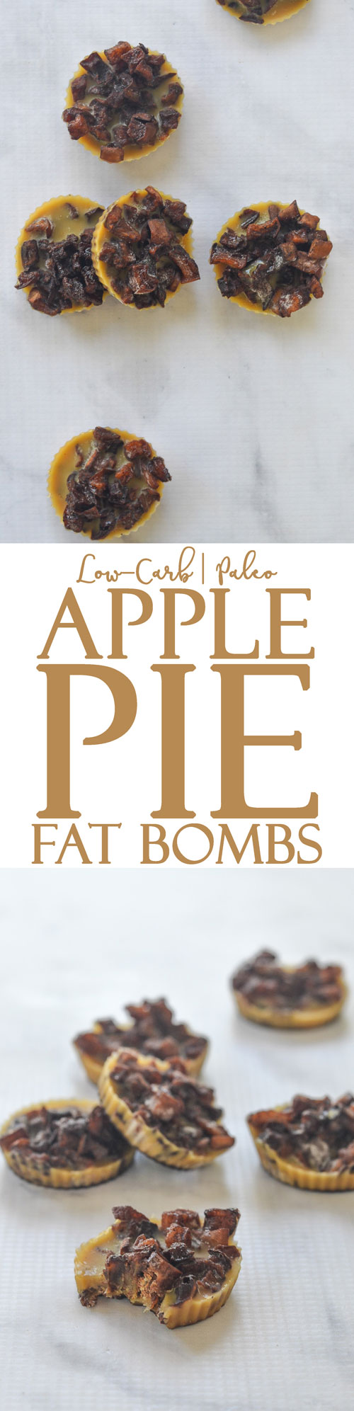 Looking for some pie this fall but don't want the carb-filled crust that usually comes along? These apple pie fat bombs taste just like the pie filling! Low-carb, keto, sugar-free, Paleo, gluten-free, grain-free.