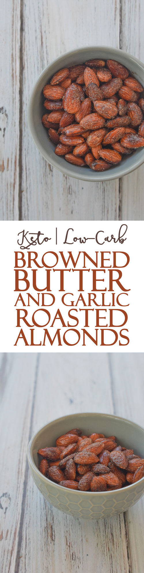 Looking for a quick salty snack? These browned butter and garlic roasted almonds fit the bill perfectly. Keto, low-carb, Paleo, dairy-free, soy-free.