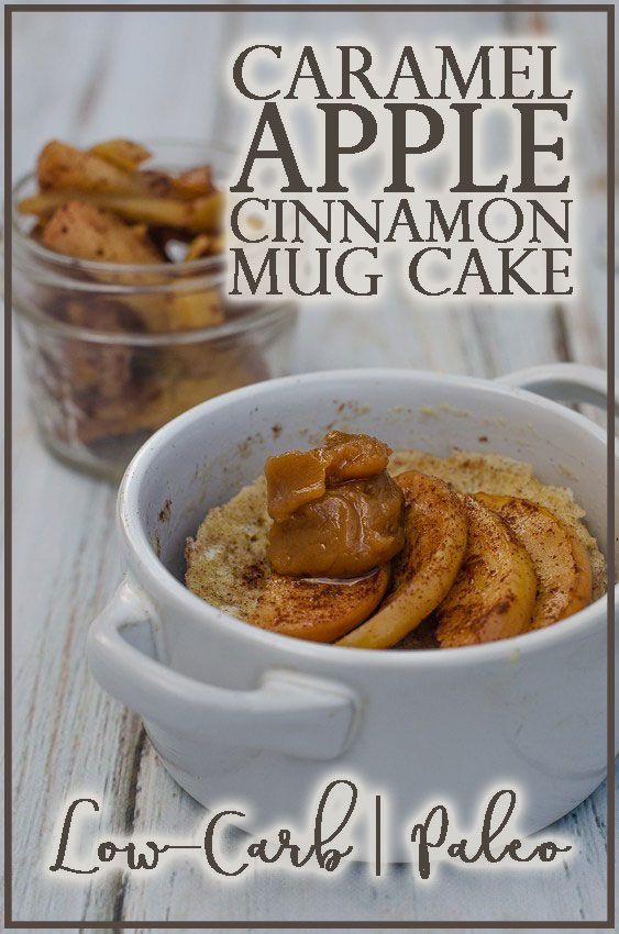 An apple cinnamon mug cake with caramel sauce that is perfect for so many dietary restrictions and food intolerances. Gluten-free, grain-free, dairy-free, Paleo, low-carb, sugar-free, nut-free.
