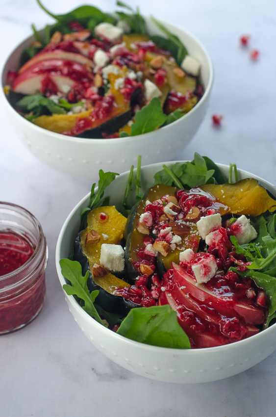 A healthy and hearty salad, this sweet and salty autumn salad with a raspberry vinaigrette is perfect for when the weather begins to turn chilly, but you're still cravings fresh greens. Low-carb, Paleo, gluten-free, grain-free, vegetarian, vegan.