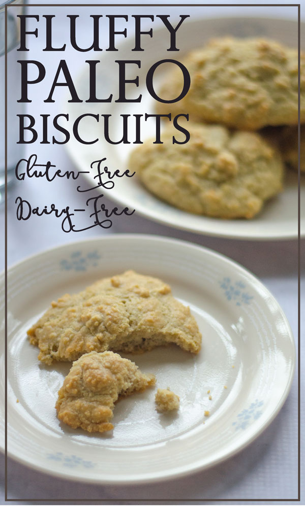 These fluffy Paleo biscuits are a super-easy way to make dinner complete! One bowl and just a few minutes of prep required. Low-carb, Paleo, gluten-free, grain-free, dairy-free.