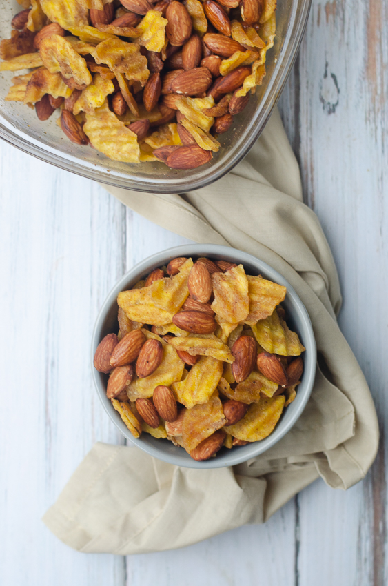 "An incredibly crunchy, salty snack, this paleo ""chex mix"" has all of the flavor of traditional chex mix without any of the grains! Gluten-free, grain-free, dairy-free, vegan, paleo."