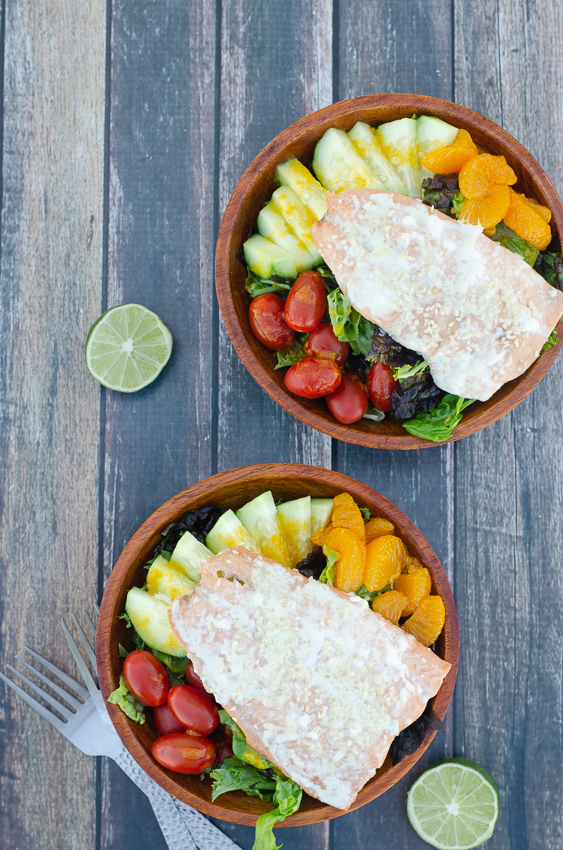 I'm a HUGE fan of this tasty Asian-inspired wasabi salmon salad with a ginger dressing! Paleo, dairy-free, gluten-free, grain-free.