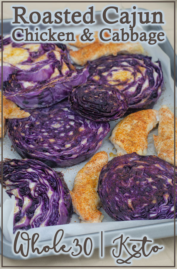 Can you believe that this delicious roasted Cajun chicken and cabbage is made on one pan?? It's true! Keto, low-carb, paleo, Whole30, gluten-free, grain-free, dairy-free.