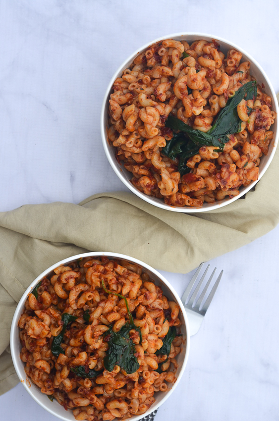 If you're looking for an easy meal, then this sun-dried tomato pasta is perfect! It takes less than 20 minutes from start to finish. Vegan, gluten-free.