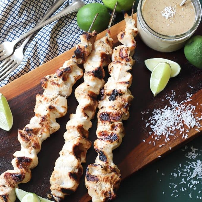 Easy Grilled Thai Chicken Satay Recipe With Marinade + Sauce