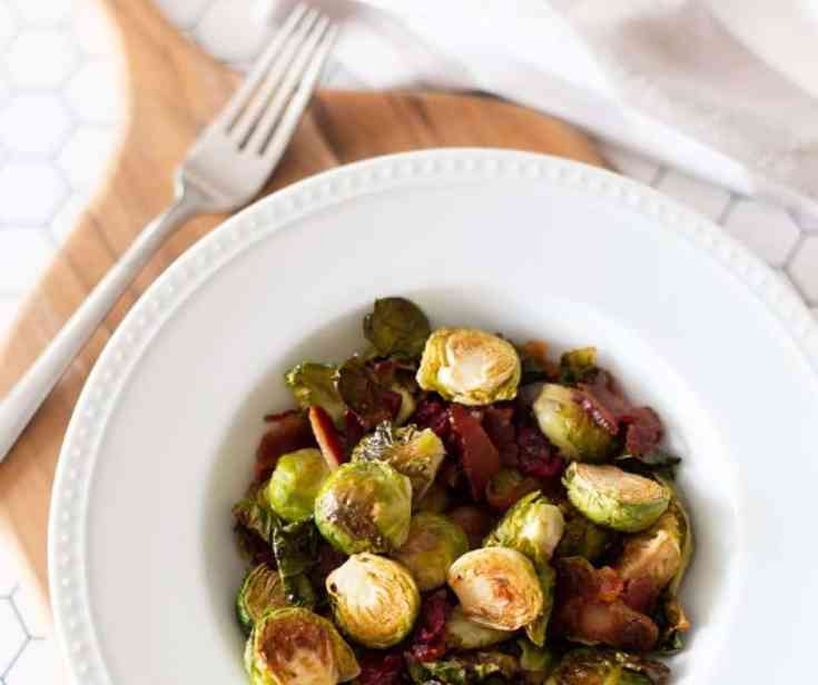 Roasted Brussels Sprouts with Bacon and Cranberries