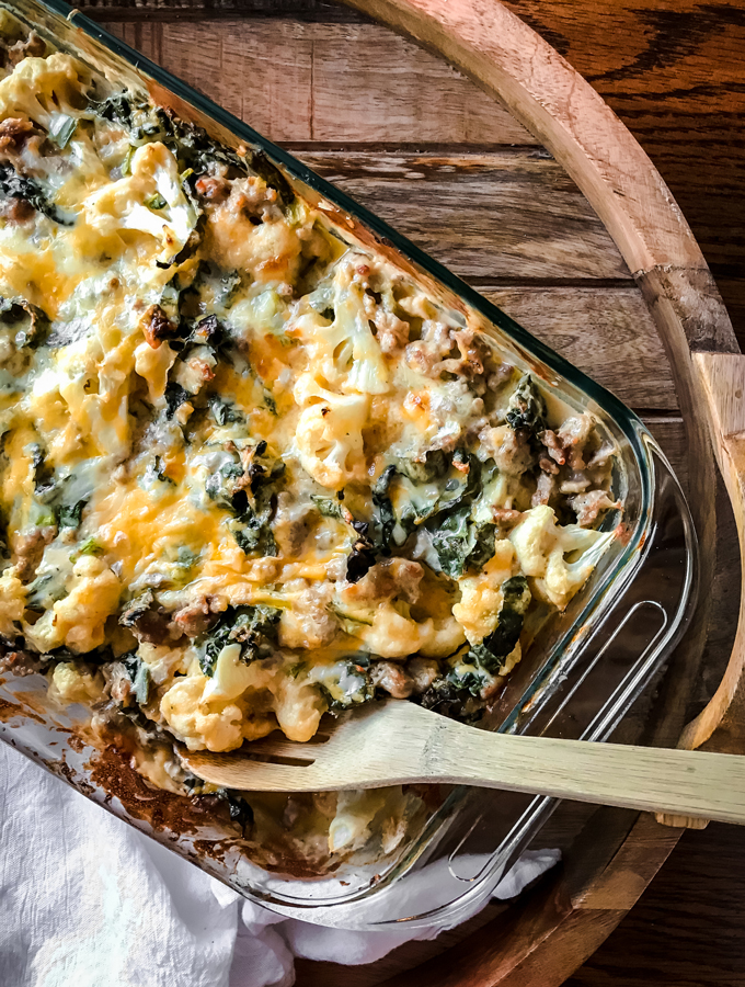 Cauliflower Mac & Cheese with Kale and Sausage
