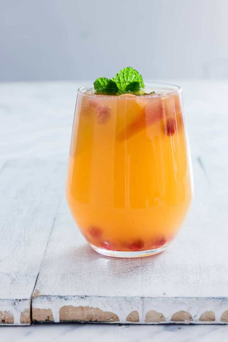 Pomegranate Peach Bellini Recipe {Gluten-Free, Vegan, Low Carb}