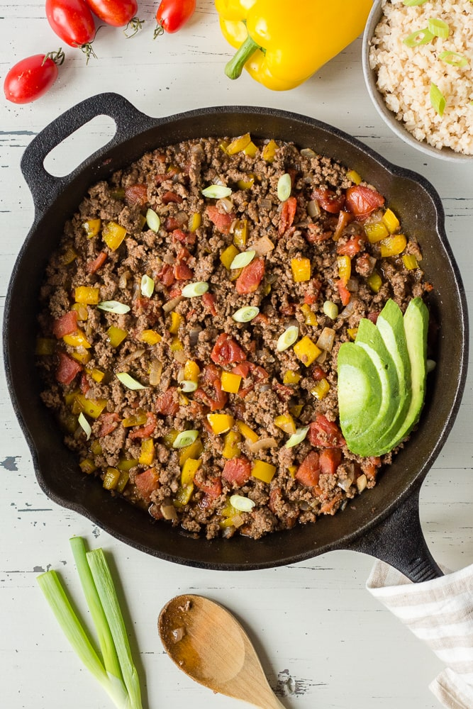 Mexican Ground Beef Skillet (GF, Paleo, Whole30)