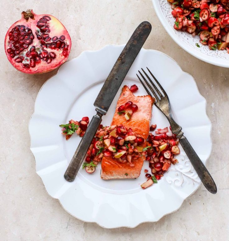 Pan-Roasted Salmon with Winter Fruit Salsa {vegan option, too!}