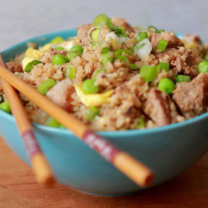 Pork Fried Cauliflower Rice [Low Carb & Keto]