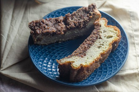 This cinnamon crumb egg loaf is a SUPER low-carb version of a coffee cake. Only 1 g net carbs per slice! Keto, paleo, sugar-free, dairy-free.