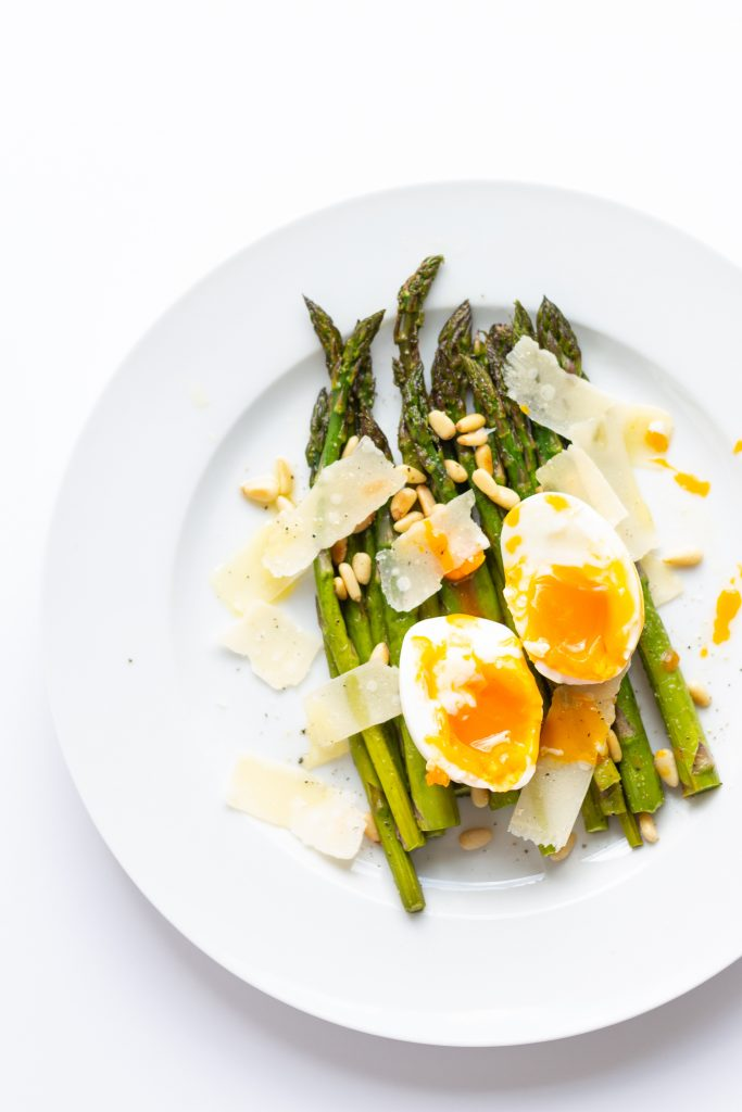 Roasted Asparagus With Egg And Parmesan Salad