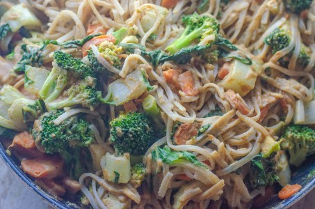 Looking for a delicious dinner the entire family will love? This veggie-packed spring roll pasta is incredible! Gluten-free, vegan, dairy-free.