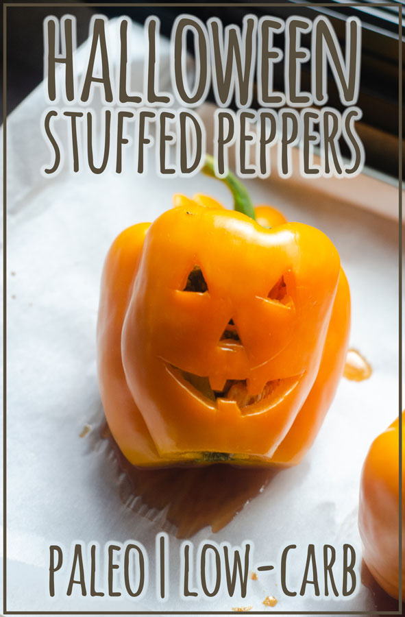 A fun holiday meal, these Halloween stuffed peppers will be a treat for the whole family! Stuff with whatever meat and seasoning you want and enjoy. Paleo, low-carb, Whole30.