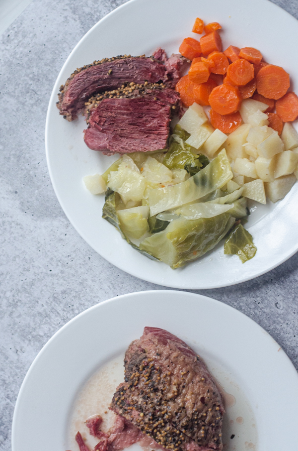 Did you know you can make instant pot corned beef and cabbage in just under two hours from start to finish? It's true! Paleo, gluten-free, dairy-free.